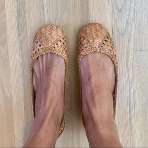 Seychelles Natural Woven Leather Flat